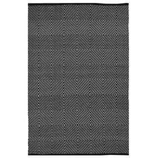 Indo Hand-woven Zen Black/ White Contemporary Geometric Area Rug (8' x 10')