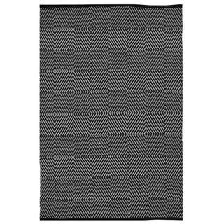 Indo Hand-woven Zen Black/ White Contemporary Geometric Area Rug (6' x 9')