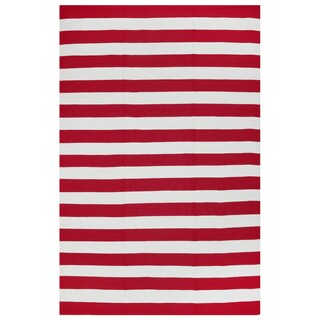 Indo Hand-woven Nantucket Red/ White Contemporary Stripe Area rug (5' x 8')