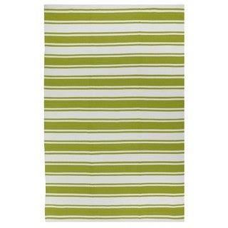 Indo Hand-woven Lucky Green/ White Contemporary Stripe Area Rug (5' x 8')