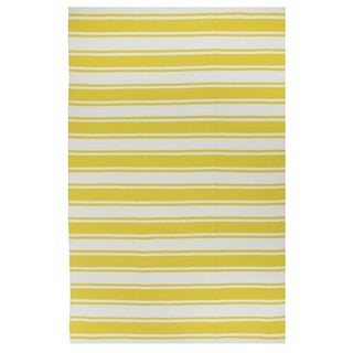 Hand-woven Indo Lucky Yellow/ White Contemporary Stripe Area Rug (5' x 8')