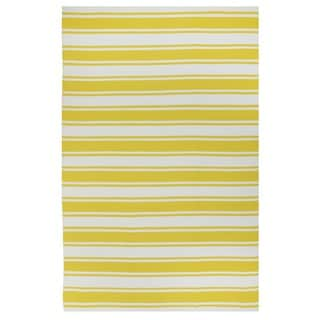 Hand-woven Indo Lucky Yellow/White Contemporary Stripe Area Rug (6' x 9')