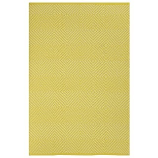 Indo Hand-woven Zen Yellow/ White Contemporary Diamond Area Rug (5' x 8')