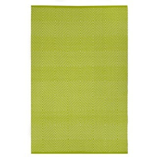Indo Hand-woven Zen Green/ White Contemporary Diamond Area Rug (8' x 10')