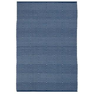 Indo Hand-woven Zen Blue/ White Contemporary Diamond Rug (6' x 9')