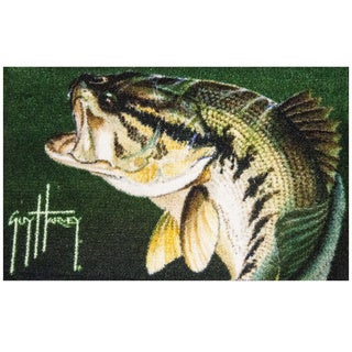 Hand-tufted Guy Harvey Largemouth Bass Green Accent Rug (2'5 x 1'6)
