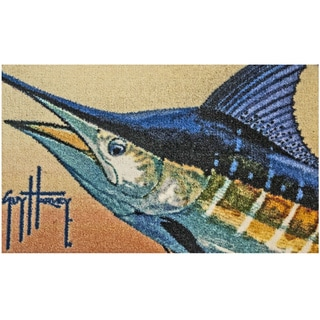 Hand-tufted Guy Harvey Marlin Beige Accent Rug (2'5 x 1'6)