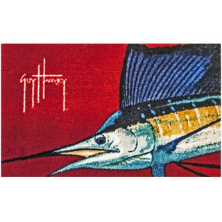 Hand-tufted Guy Harvey Sailfish Red Accent Rug (2'5 x 1'6)