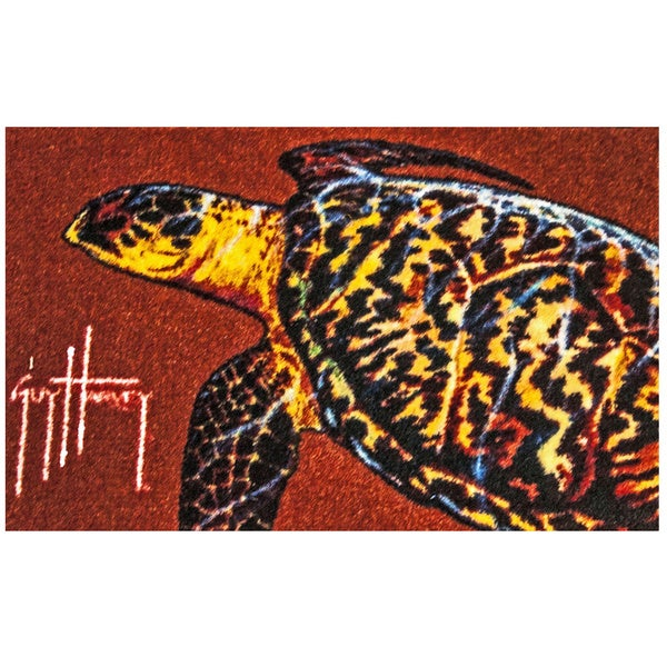 Somette Hand-tufted Guy Harvey Sea Turtle Rust Accent Rug