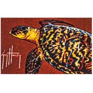Hand-tufted Guy Harvey Sea Turtle Rust Accent Rug (2'5 x 1'6)