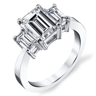 Platinum 2 1/2ct TDW Certified Emerald-cut Diamond Engagement Ring (H-I, SI1-SI2)
