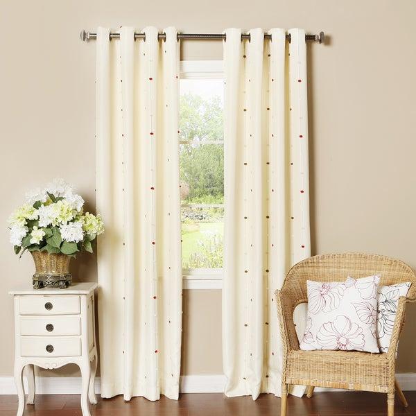 Pom pom dot oxford grommet top curtain panel pair overstock shopping