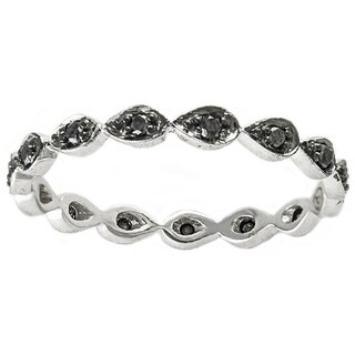 Beverly Hills Charm 10k White Gold 1/5ct TDW Black Diamond Stackable Band Ring (H-I, I1-I2)