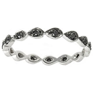 Beverly Hills Charm 10k White Gold 1/5ct TDW Black Diamond Stackable Eternity Band Ring (H-I, I1-I2)