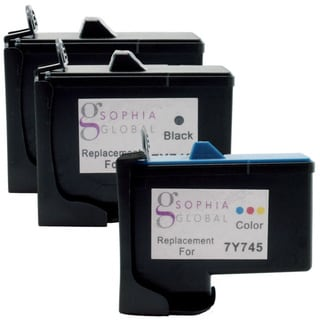 Sophia Global Remanufactured Ink Cartridge Replacement for Dell 7Y743 and 7Y745 (2 Black, 1 Color)