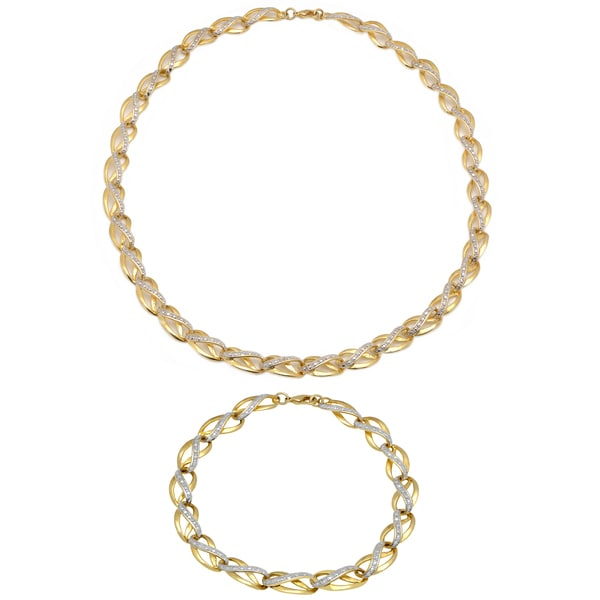 Finesque 1/4ct TDW Diamond Link Necklace with Bonus Bracelet (I-J, I2-I3)