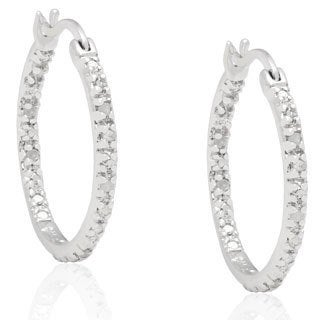 Sterling Silver Black Diamond Hoop Earrings with Bonus Earrings