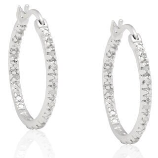 Finesque Sterling Silver Black Diamond Hoop Earrings with Bonus Earrings