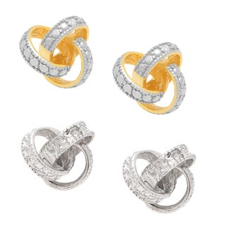 Finesque Diamond Accent Love Knot Earrings with Bonus Pair of Earrings