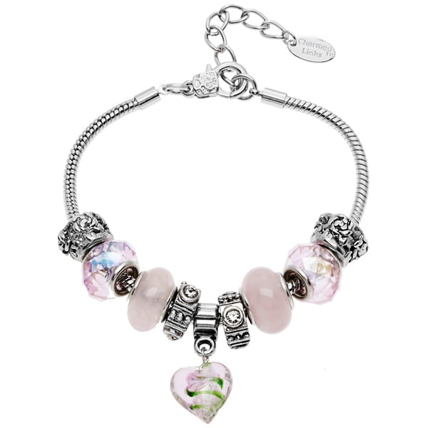 La Preciosa Silvertone Crystal Heart Charm Bracelet