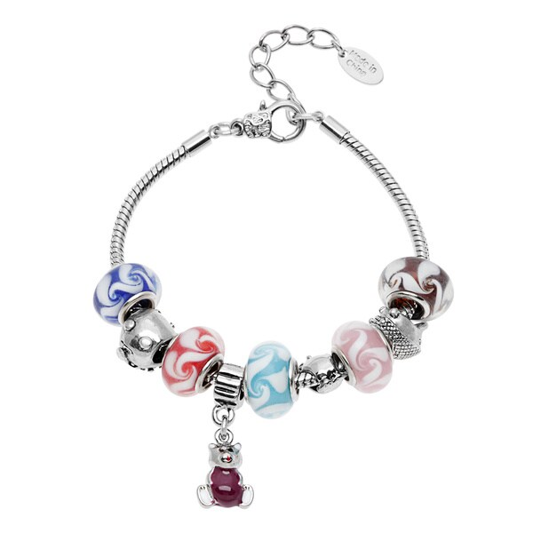 La Preciosa Silvertone Multi-color Bead Teddy Bear Charm Bracelet