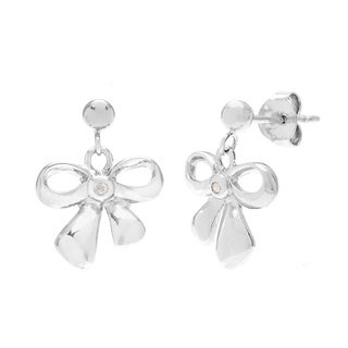 La Preciosa Sterling Silver Diamond Bow Earrings