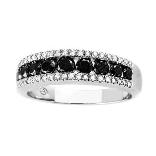 Beverly Hills Charm 10k White Gold 4/5ct Black and White Diamond Channel Band Ring (H-I, I2-I3)