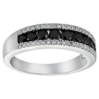 10k White Gold 4/5ct Black and White Diamond Band Ring (H-I, I2-I3)