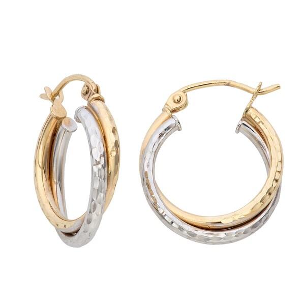 Gioelli 14k Gold Two-tone Diamond-cut Double Twist Hoop Earrings