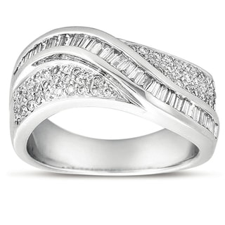 14k White Gold 3/4ct TDW Round and Baguette-cut Diamond Ring (H-I, SI3)
