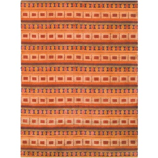 Safavieh Hand-knotted Nepalese Rust/ Multi Wool/ Silk Rug (9' x 12')