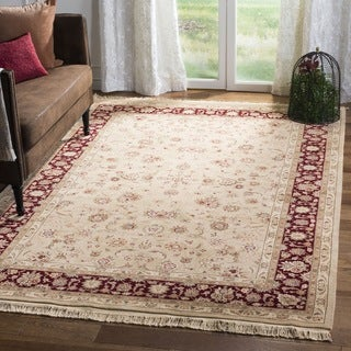 Safavieh Hand-knotted Tabriz Floral Tan/ Red Wool/ Silk Rug (9' x 12')