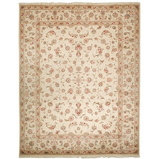 Safavieh Hand-knotted Tabriz Floral Light Green/ Ivory Wool/ Silk Rug (9' x 12')