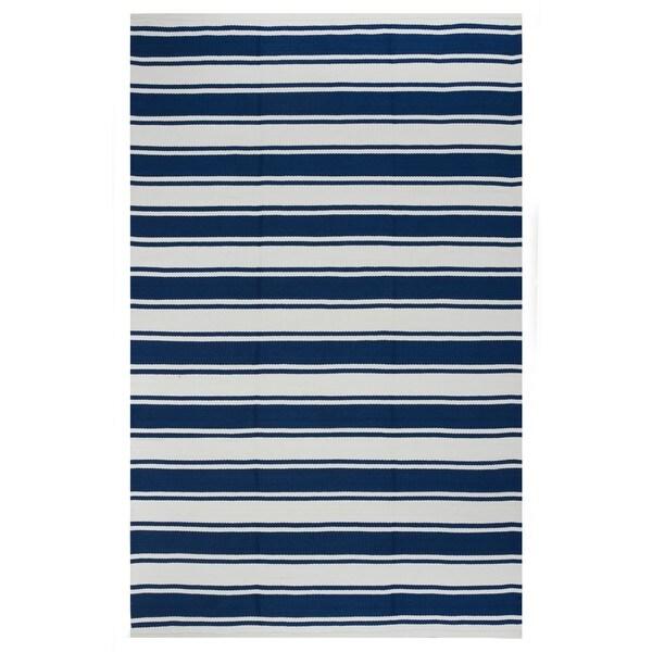 Indo Hand-woven Lucky Blue/ White Contemporary Stripe Area Rug (3' x 5')