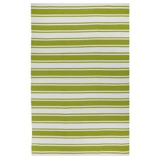Indo Hand-woven Lucky Green/ White Contemporary Stripe Area Rug (3' x 5')