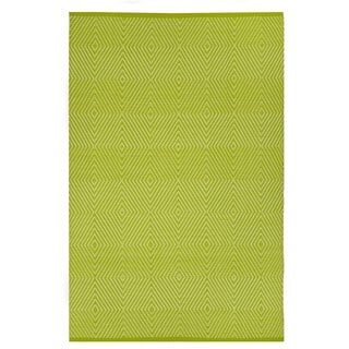 Indo Hand-woven Zen Green/ White Contemporary Geometric Area Rug (4' x 6')