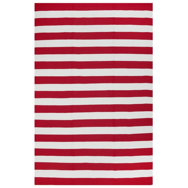 Indo Hand Woven Nantucket Red White Striped Indoor