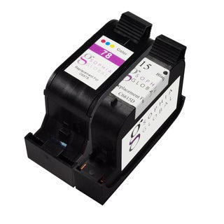 Sophia Global Remanufactured Ink Cartridge Replacement for HP 15 and HP 78 (1 Black, 1 Color)