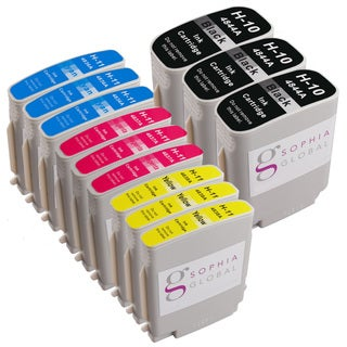 Sophia Global Compatible Ink Cartridge Replacement for HP 10 and HP 11 (3 Black, 3 Cyan, 3 Magenta, 3 Yellow)