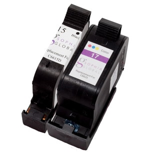 Sophia Global Remanufactured Ink Cartridge Replacement for HP 15 and HP 17 (1 Black, 1 Color)