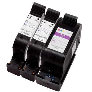 Sophia Global Remanufactured Ink Cartridge Replacement for HP 15 and 17 (2 Black, 1 Color)