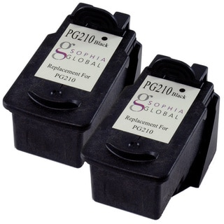 Sophia Global Remanufactured Ink Cartridge Replacement for Canon PG-210 (2 Black)