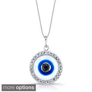 Victoria Kay 14k Gold 1/6ct TDW Diamond Evil Eye Enamel Necklace with 16-inch Chain (J-K, I2-I3)