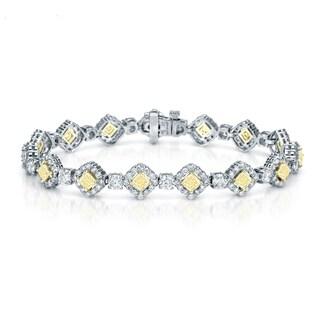 Auriya 18K White Gold 10.25ct TDW Yellow Diamond Cushion Bracelet (F-G, VS1-VS2)