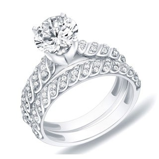 Auriya 14k Gold 1 1/4ct TDW Certified Round Diamond Bridal Ring Set (H-I, SI1-SI2)