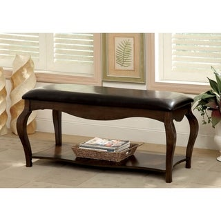 Furniture of America Endera Padded Leatherette Tobacco Oak Accent Bench