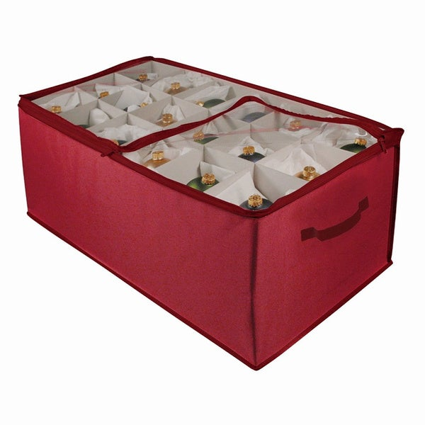 Fabric christmas ornament storage chest with iders for 64 balls