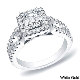 Auriya 14k Gold 1 3/4ct TDW Certified Princess Halo Diamond Engagement Ring (H-I, SI1-SI2)