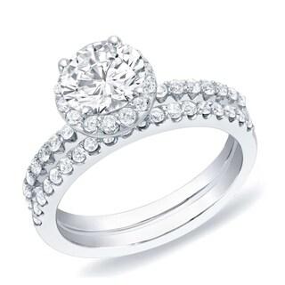 Auriya 14k Gold 1 1/4 ct TDW Round Diamond Halo Bridal Ring Set (H-I, SI1-SI2)