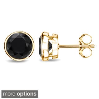 Auriya 14k Yellow Gold Black Diamond Bezel Set Stud Earrings